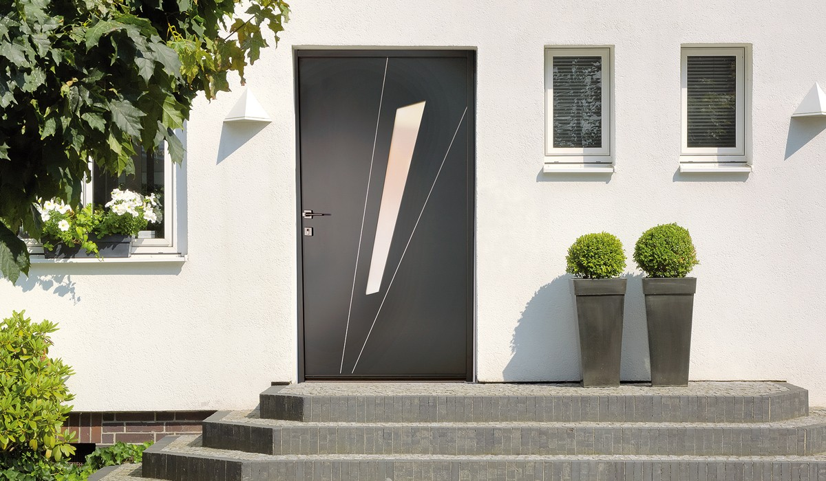 Porte dentree aluminium noir for Porte entree alu contemporaine